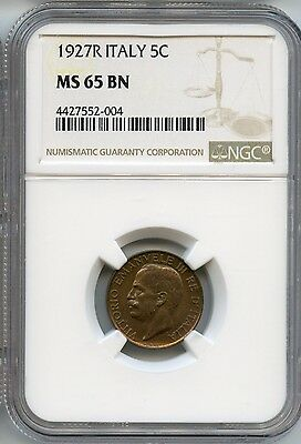 1927-R NGC MS 65 BN Italian 5 Centesimi Copper Coin SA640