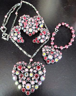SCHIAPARELLI Rhinestone Heart Grande Parure Set Necklace Bracelet Pin Earings
