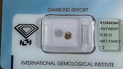 DIAMANT Certifié IGI - Brillant -  I2 - 0,35 Carats  NATURAL FANCY BROWN