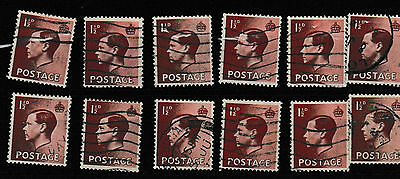 GB Edward VIII SG455 1.5d brown 1936 - 12 used stamps