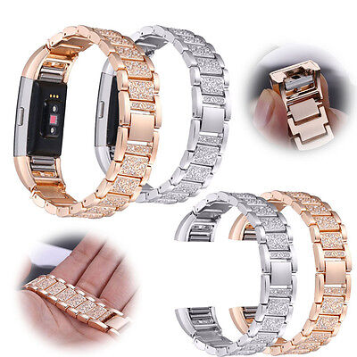 Metal Stainless Diamante Loop Watch Band Strap For FitBit Charge 2 Wristband