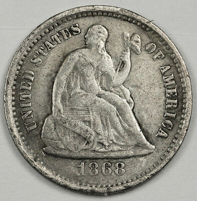 1868-s  Seated Liberty Half Dime.  X.F. Detail.  91038