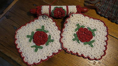 Vintage CROCHETED RED FLORAL POTHOLDER PAIR & CROCHETED COVER ROLLING PIN