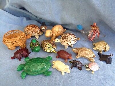 vintage Turtle Figurine Collection Shells, Resin, Wood, Stone, Glass