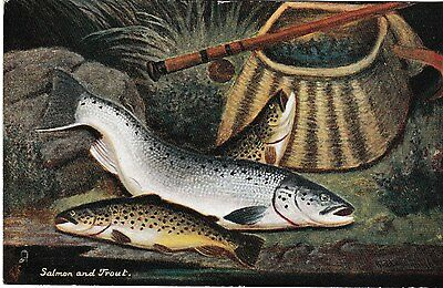 Salmon and trout - Tuck Oilette post card 1917
