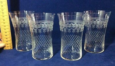 4 Vintage Pall Mall Lady Hamilton Etched 12cm Water Lemonade Glasses Tumblers