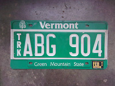 License Plate Sign Exp 92 Vermont Green Mountian ABG 904 Decent Used