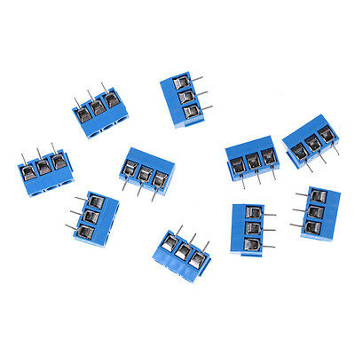 10X KF301-3P Pitch 5.0mm Straight Pin PCB 3Pin Screw Terminal Block Connector ES