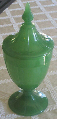 Northwood Jade Green Covered Candy Jar