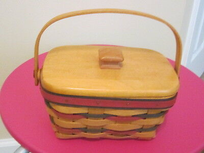 Longaberger TriColor Basket With Wood Lid and Liner Signed RW