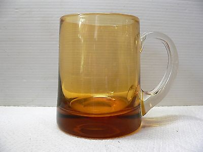 WHITEFRIARS AMBER GLASS TANKARD / MUG with a CLEAR HANDLE - BEER & LAGER