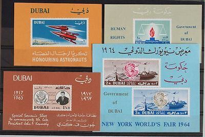 DUBAI 1964 MNH Sheet SELECTION, $40, Space, Kennedy, Human Rights