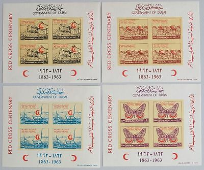 DUBAI 1963 MNH Sheets  $70, Red Cross Centenary, Butterflies