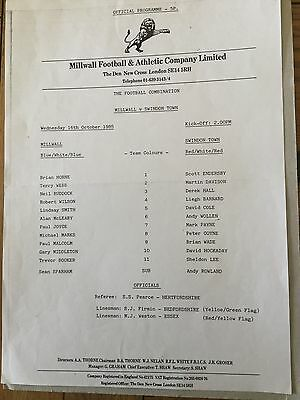 MILLWALL Res v SWINDON TOWN Res ( Comb ) 1985/6.
