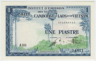 French Indo-China 1954 Issue 1 Piastre Banknote Crisp Gem-Unc.pick#105.