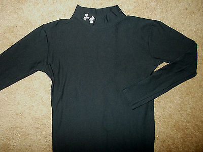 Under Armour Cold Gear Long Sleeve Black Compression Shirt Boys Large Excellent