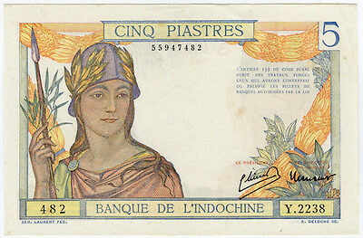 FRENCH INDO-CHINA 1949 ISSUE 5 PIASTRES BANKNOTE CRISP AU.PICK#55d.