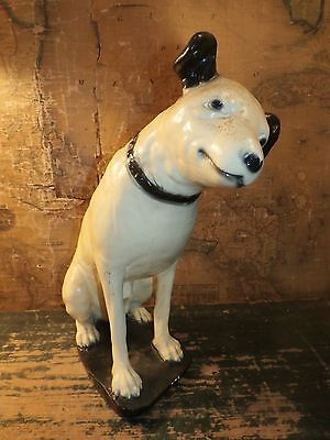 Vintage Antique Chalkware RCA Nipper Dog Advertising Statue Figure Store Display