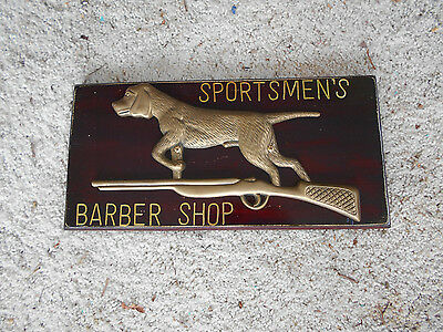 "BARBER SHOP ""VINTAGE"" SIGN/PLAQUE says: ~SPORTSMEN'S BARBER SHOP~"