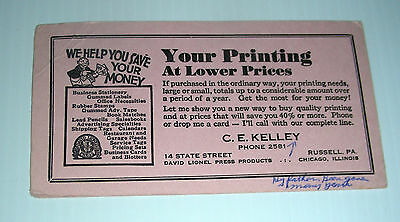 vintage DAVID LIONEL PRINTING ad blotter Russell PA 14 state street Chicago