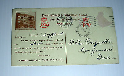 vintage FROTHINGHAM & WORKMAN ad blotter Aug. 1920 Canada