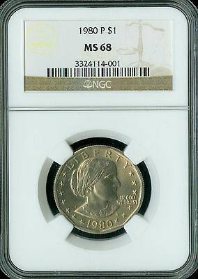 1980-P Sba Dollar $1 Ngc Ms68 Finest Registry Very Rare Spotless   *