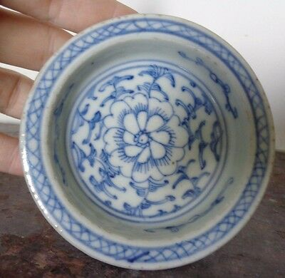 Antique   Qing Dynasty Blue & White Pedestal Footed  Spice  Bowl