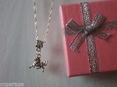 New Childrens Silver Twist  Necklace ,  Horse Pony Pendent Gift Box] Birthday