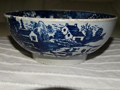 GEORGIAN CHINESE - CHINESE INSPIRED BLUE & W PEARLWARE BOWL,COLLECTIBLE c1800.