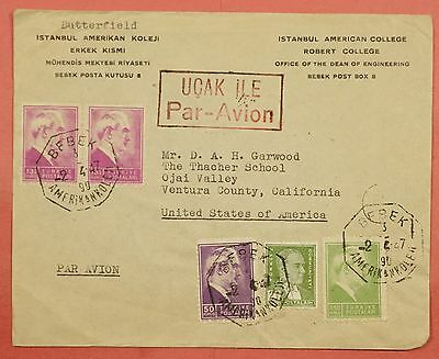 1947 Turkey Bebek Cancel Multi Franked Airmail Cover To Usa #2