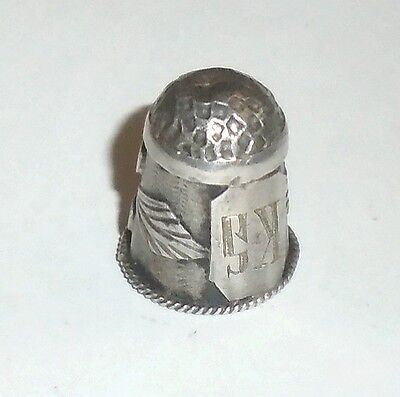 Vintage Sterling Silver Thimble Monogrammed KS  also Trademarked