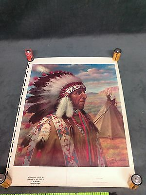 "Native American Print Poster Chief Indian rare Print By Robert Lindneux 25""x 19"""