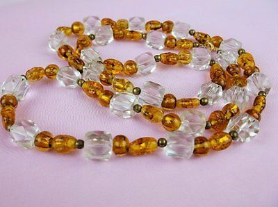 Vintage ART DECO FOILED POURED GLASS BRASS CRYSTAL BEAD NECKLACE