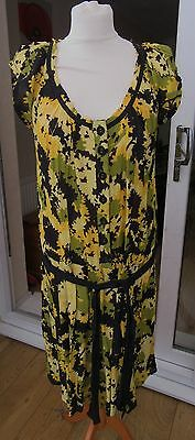 MONSOON Size 16 Black Yellow Green Flower Floral Dress Wedding Party