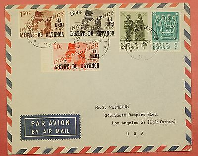 1962 Katanga Overprints On Airmail Cover Elisabethville Cancel To Usa