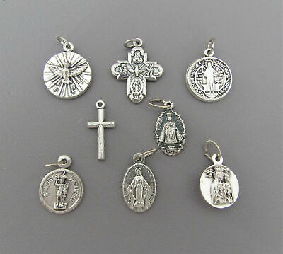 Lot 8 Small Holy Medals Cross for Rosary Bracelet Miraculous St. Michael SILVER