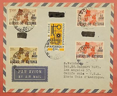 1960's Katanga Overprints On Airmail Cover Jadotville Cancel To Usa