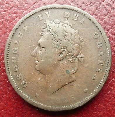 1826 George Iv British One Penny Coin - Circulated Grade - See!