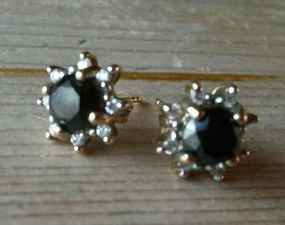 Stunning, Art Deco, 9 Ct Gold, 2.0 Carat Black And White Diamond Stud Earrings
