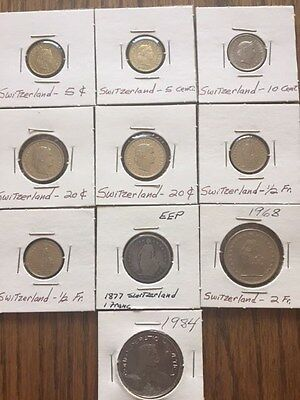 Collection, Lot of 10 Swiss coins.  1877-1985. 9 Fr, 60 C