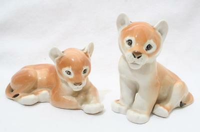 Beautiful Vintage Lomonosov Russian USSR Animal Figure x 2 - Lion Cubs