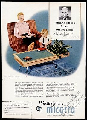 1952 Russel Wright photo Herman Miller modern table Micarta vintage print ad