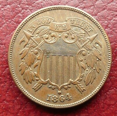 Usa 1864 2 Two Cent Coin - High Grade - See!