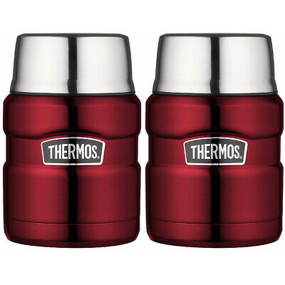 Thermos Stainless King Vacuum Insulated 16 oz. Food Jar (Cranberry Red) 2PK