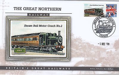 (02880) GB Benham Cover Great Northern Railway Steam Rail Motor Coach 1 Dec 2009