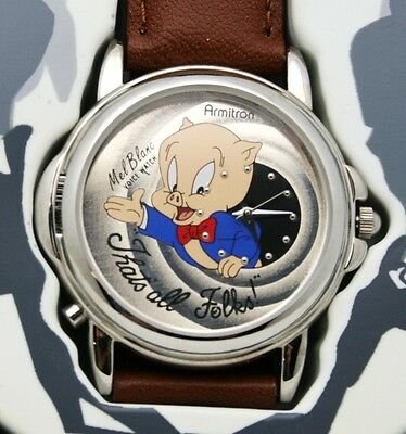 Porky Pig Watch Looney Tunes Talking Mel Blanc Voice 36 mm Watch Vintage New