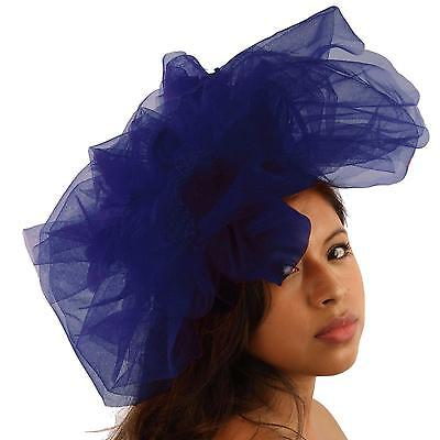 Big Tulle Mesh Feathers Fishnet Headband Fascinator Bridal Cocktail Hat Blue