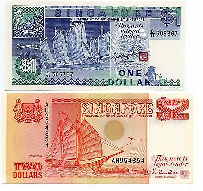 SINGAPORE 1 and 2 Dollars - A Set of 2 Crisp UNC Banknotes