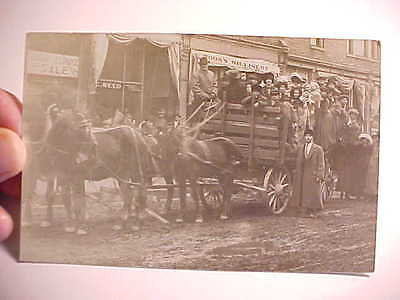 1910 Rppc Real Photo Huge Wagon Of Immigrants In U.s. From Russia E. Europe Vg+