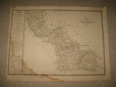 Huge Antique 1833 Nord Lille Dunkirk Cambrai France Handcolored Folio Size Map